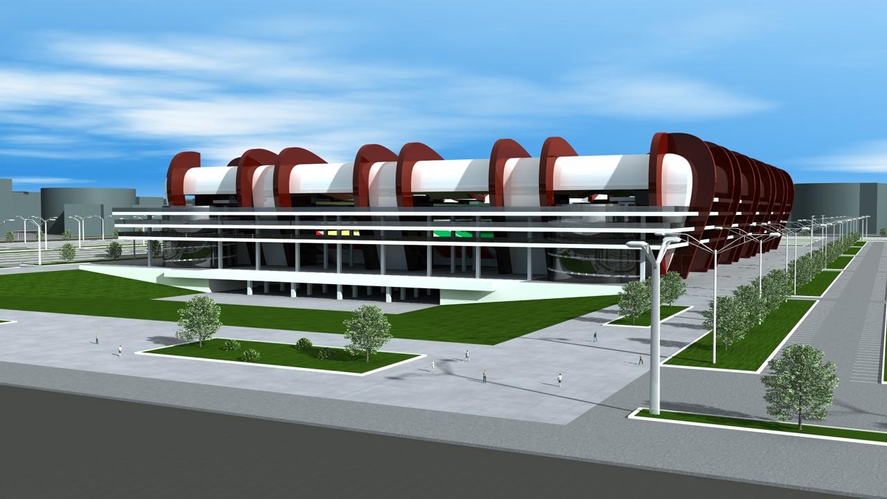 Estadio de futbol centro comercial y empresarial nomo for Accesos arquitectura